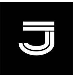 Letter J wide white stripes Logo monogram emblem vector image vector image