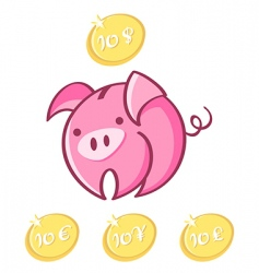 piggy bank and lucky coins vector image vector image