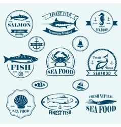 seafood retro emblems and labels set vector image vector image