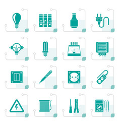 stylized electrical devices and equipment icons vector image vector image
