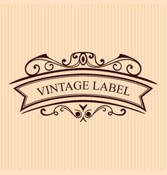 Vintage calligraphic label ornate logo template vector