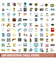 100 industrial skill icons set flat style vector