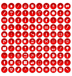 100 paint icons set red vector