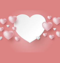 3d hearts on coral color background vector image