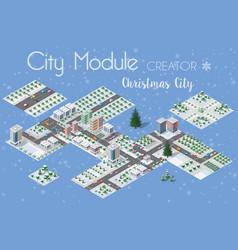 a set of winter christmas urban vector image