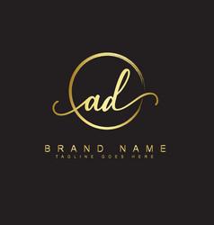 Ad initial signature logo vector