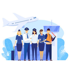 Airport crew standing together professional vector