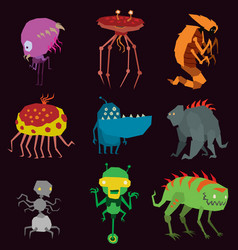 Aliens monsters set graphic mutant vector