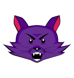 Angry purple cat head vector