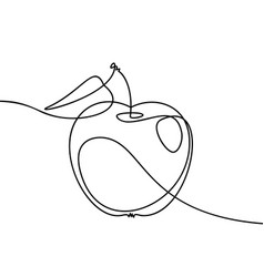 Apple continuous line drawing black and white vector