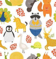 Background with cute animals vector
