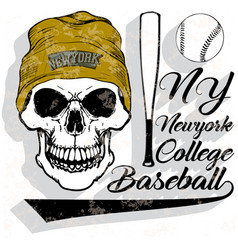 Baseball logo skull fashion vector