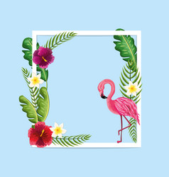 beauty and cute flowers plants with flamingo vector image