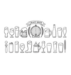 beer objects set beer glasses different shape vector image
