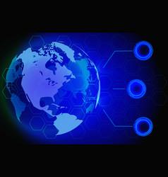 blue world map global hologram vector image