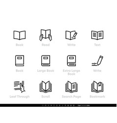 Book read and write icons hands hold book open vector
