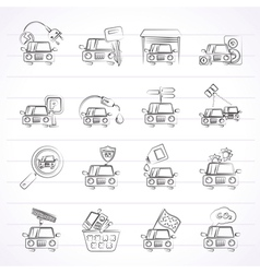 Car and road services icons vector image
