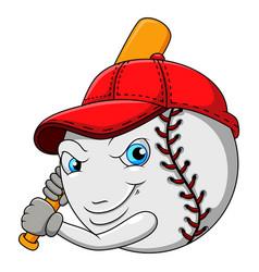 Cartoon baseball hits ball with a swinging sti vector