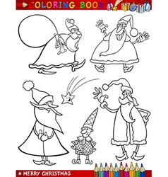 Cartoon Christmas Themes for Coloring vector image