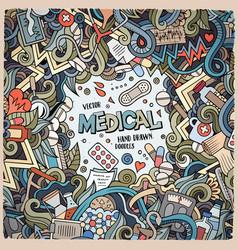 Cartoon cute doodles medical frame vector