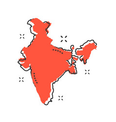 Cartoon india map icon in comic style india vector
