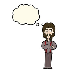 cartoon long mustache man with folded arms with vector image