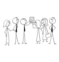 Cartoon of business team working together to find vector