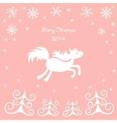 Christmas card with a running horse vector image