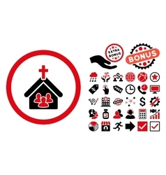 Church Flat Icon with Bonus vector image