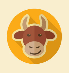Cow flat icon animal head vector