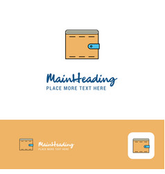 creative wallet logo design flat color logo place vector image