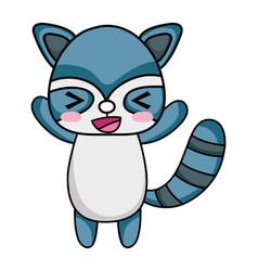 Cute and cheerful raccoon wild animal vector