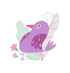 cute little violet bird symbol of spring vector image