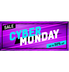 Cyber monday promo banner on a bright striped vector