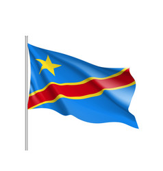 Democratic republic congo realistic flag vector