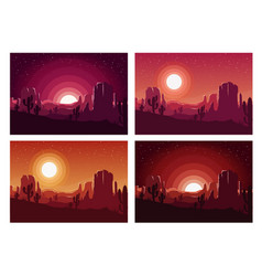 Desert sunset landscape vector