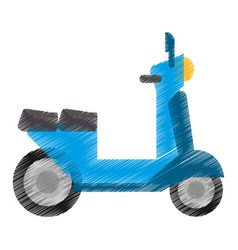 drawing blue scooter transport vehicle image vector image