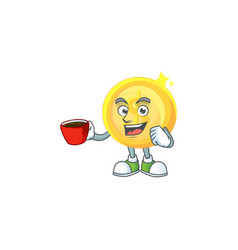Drinking in cup currency gold coin isolated white vector
