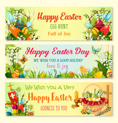 easter day and egg hunt celebration banner set vector image
