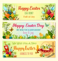 Easter day and egg hunt celebration banner set vector