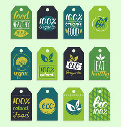 Ecoorganic logo cards templates vector