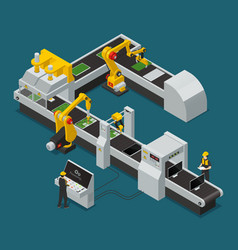 Electronics factory equipment staff isometric vector