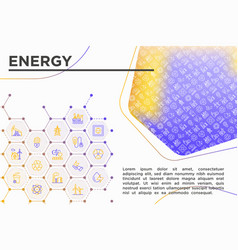 Energy concept with thin line icons vector