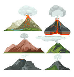 Fired up volcano mountains with magma and hot lava vector