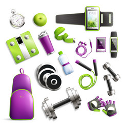 Fitness gym set vector