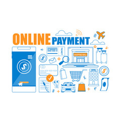 flat banner online payment on white background vector image