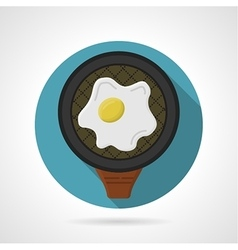 Flat color icon for fried egg vector
