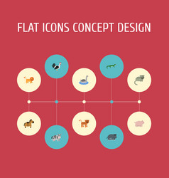 flat icons swine hippopotamus kine and other vector image