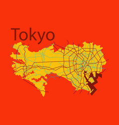 Flat japan tokyo - top view map showing streets vector