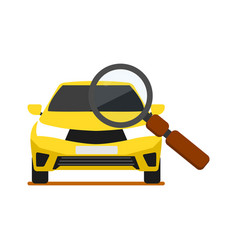 Front view yellow car with magnifier icon vector